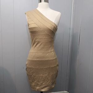 Express One Shoulder Gold Bodycon Dress XS